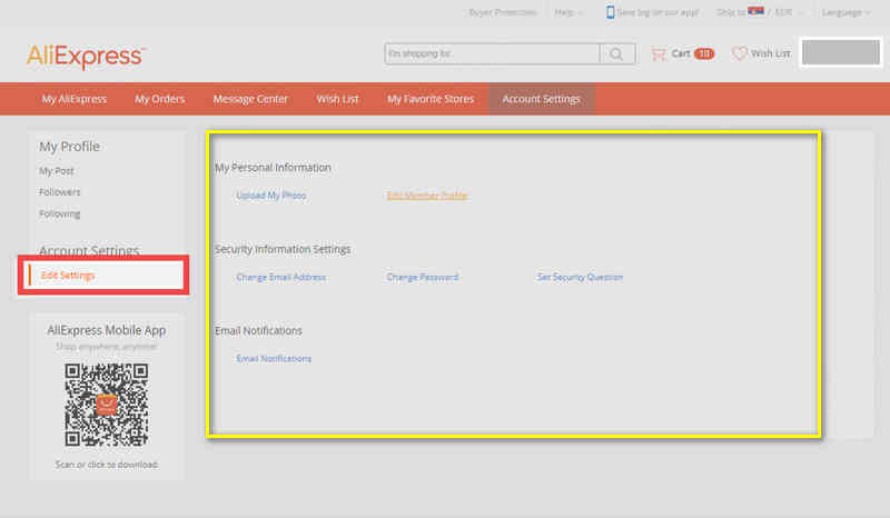 Deactivating your Aliexpress Account